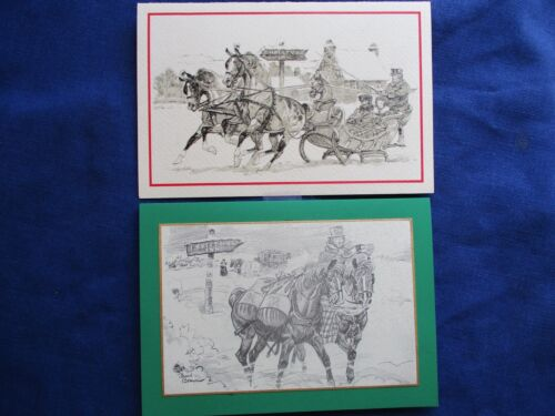 VINTAGE PAUL BROWN Horse ILLUSTRATION Christmas Inn Cards Sleigh Packages ~NiCe