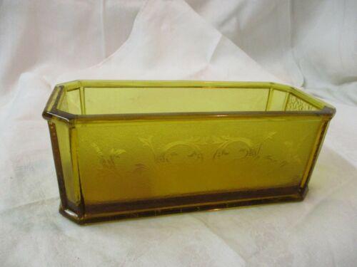 Vintage depression Glass etched amber rectangular Bulb Forcing Dish
