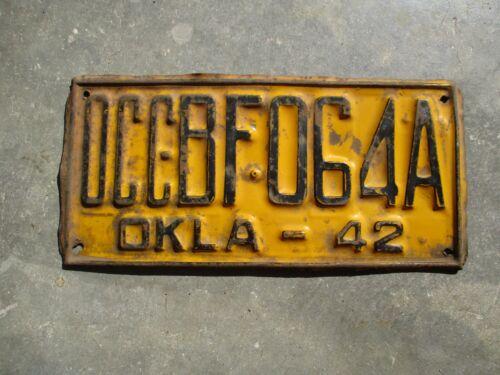 Oklahoma 1942 OCC license plate #  BF 064A
