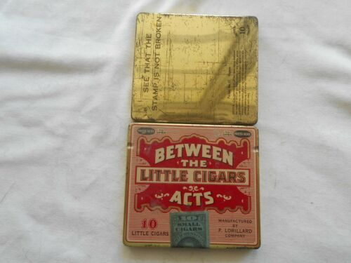 """VINTAGE """"BETWEEN THE LITTLE CIGARS ACTS """" TIN -(1926 STAMP)"""