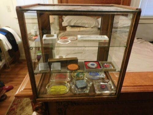 Antique OAK ORIGINAL WAVEY GLASS COUNTRY STORE DISPLAY/SHOWCASE