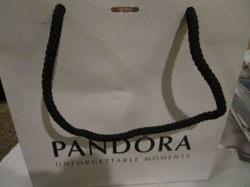 Pandora Gift Bag Shopping Bag with Tissue Paper and Attached Ribbon Used Once