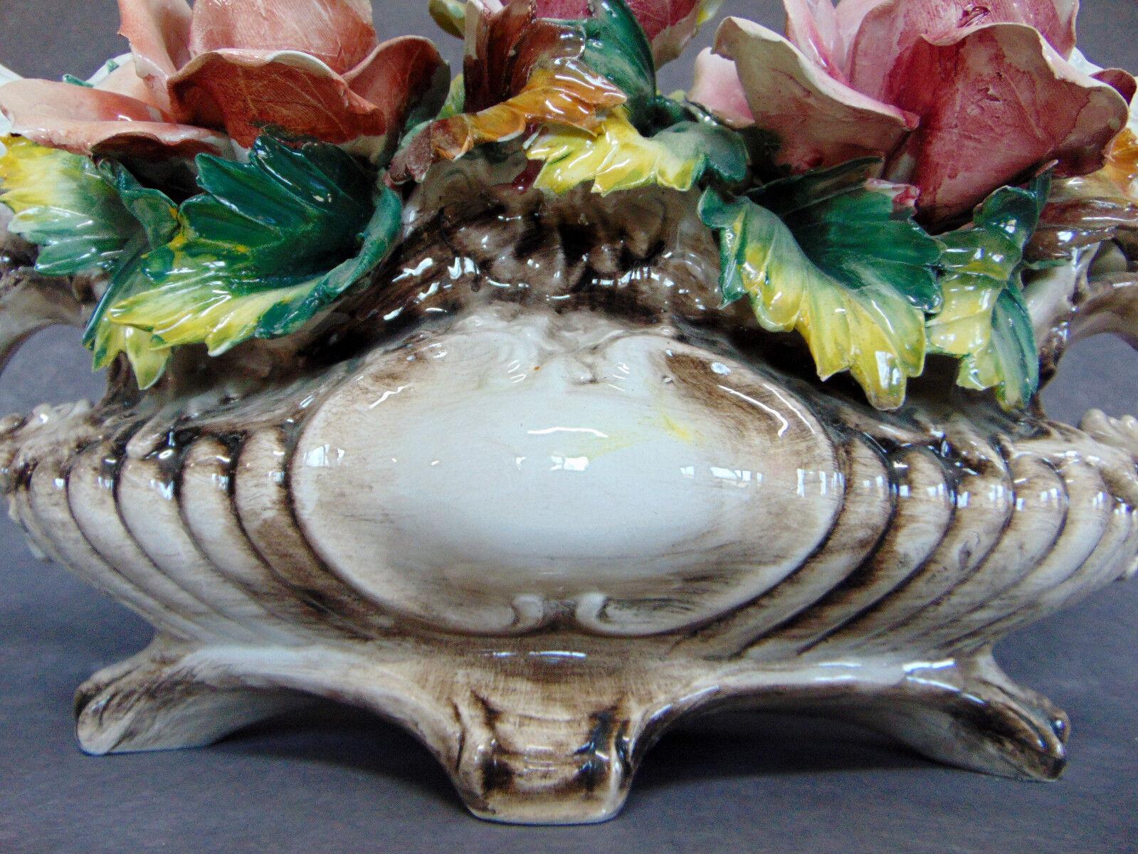 Antique capodimonte italy large porcelain floral