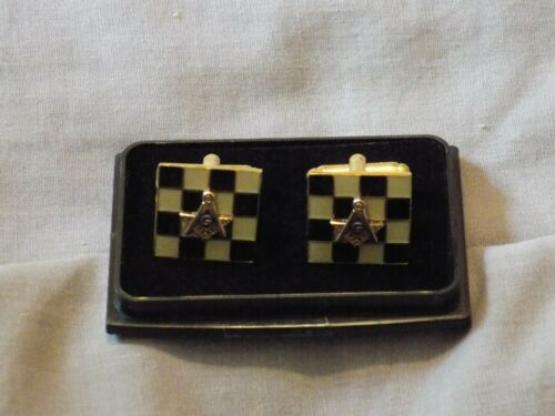 Square Compass Checkerboard Masonic Cufflinks Shirt  Freemasonry Fraternity NEW!