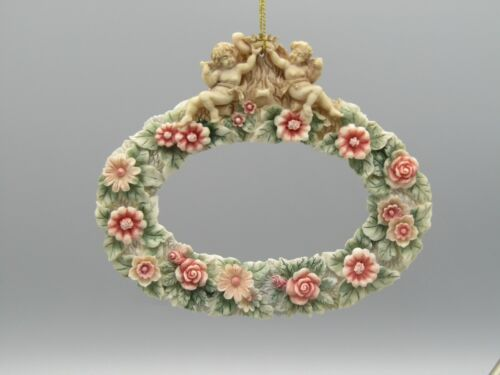 Oblong Resin Cherubs Angels Ornament Picture Frame w/ Pink Flowers