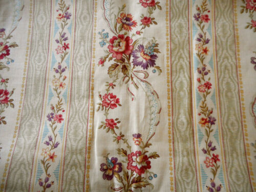 Antique French Floral Garland Stripe Cotton Fabric ~ Pink Blue Sage Lavender