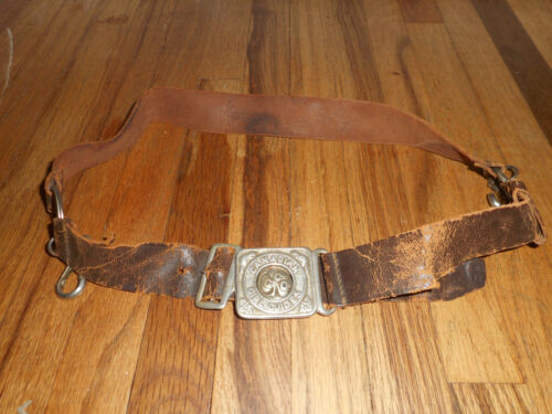 Vintage Canadian Girl Guides CGG Assn Scout Leather Belt & Buckle