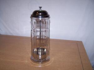 Vintage Gemco Straw Holder Dispenser Panel Clear Glass Metal Retro Deco Bar