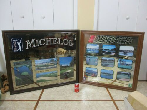 Rare Michelob Beer PGA Golf Tour Framed Mirror Perfect Foursome  &  Classic Nine