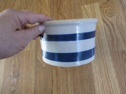 Stoneware Pottery Crock Double Blue Striped  - Estate