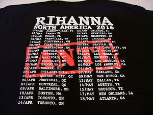 Rihanna ANTI T-Shirt Size LARGE Adult 2016 North America Tour Dates & Cities New