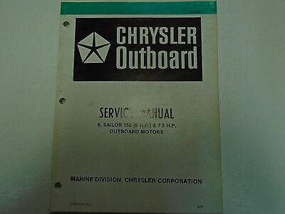 Chrysler Outboard 6 & 7.5 HP Sailor 150 Service Repair Manual OEM Factory Book