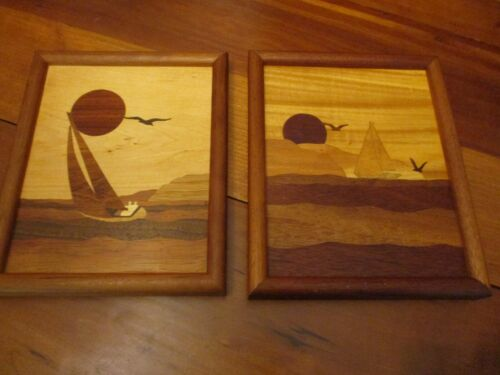 2 Vintage Marquetry wood inlay pictures of Sailing, 9 x 11""