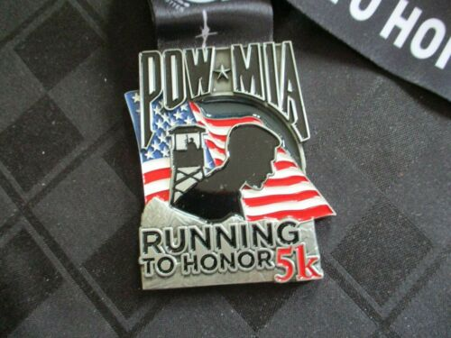 POW MIA RUNNING TO HONOR 5K medal NEW on neck ribbon