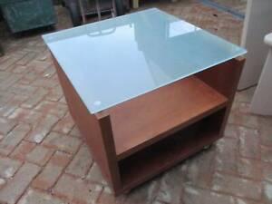 Timber Veneer Glass Top Side Table