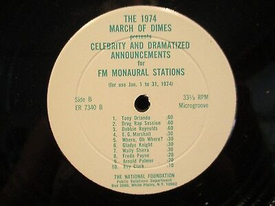 "12"" PSA March Of Dimes 1974 Debbie Reynolds/Gladys Knight/EG Marshall"