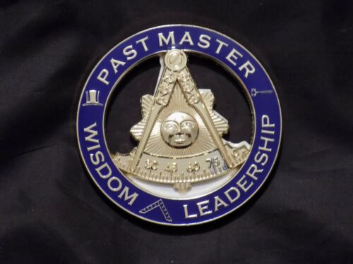 """Masonic 3"""" Car Emblem Past Master without Square Gavel Top Hat Metal NEW!"""