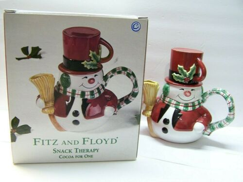 Fitz and Floyd Snack Therapy Snowman Teapot Cup Cocoa For One Christmas Tea Hot