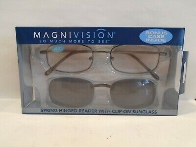 Magnivision +200 Reading Glasses by Foster Grant w Case and Clip-on Sunglasses Foster Grant Reading Sunglasses