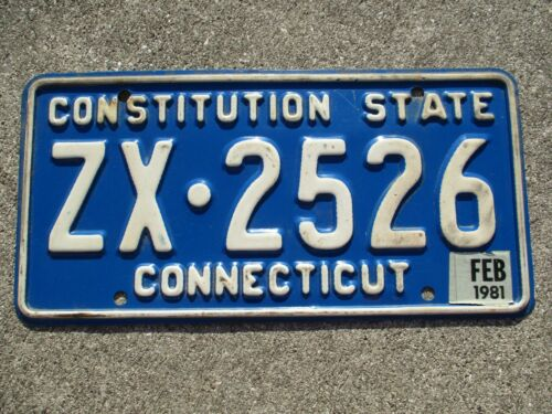 Connecticut 1981 license plate #   ZX - 2526