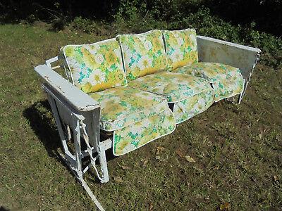 1940`s 50`s WHITE Metal Porch GLIDER Swing vtg. Yard Furniture ~~~ NO RESERVE !