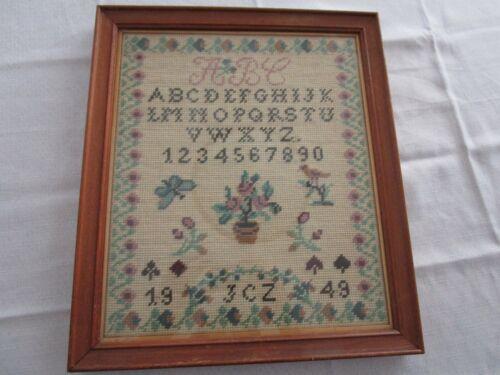 """Vintage Wool Needlepoint Sampler Framed 1949, ALPHABET NUMBER , 14 X 16 1/2"""""""