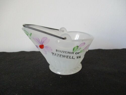 Circa 1920 Souvenir Tiffin Clambroth Glass Coal Bucket Tazewell Virginia