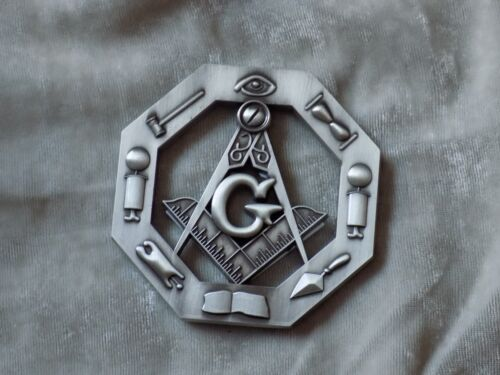 "Masonic 3"" Car Emblem Master Mason Square Compass Working Tools Fraternity NEW!"