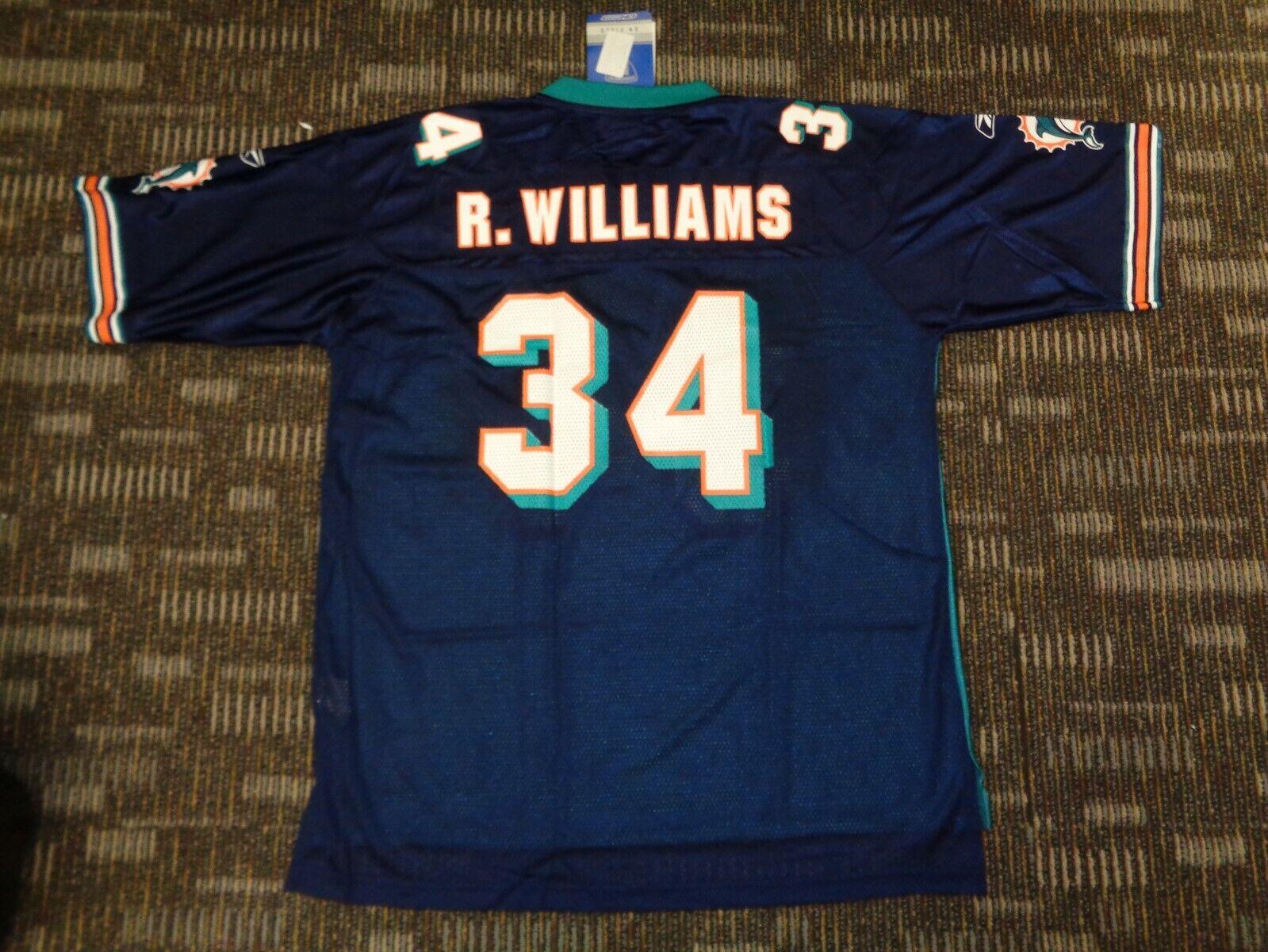 LOT-NWT RICKY WILLIAMS CAMERON WAKE MIAMI DOLPHINS REEBOK NFL CFL GAME JERSEYS - $69.99