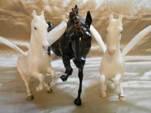 Breyer  Mystical Unicorn and Pegasus Set Black Unicorn, Silver & Gold Pegasus