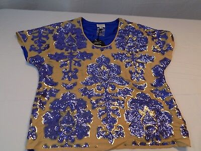 New Neiman Marcus Target Tracy Reese Sequined Top Shirt Blue   Tan Msrp  79