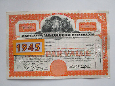 Vtg Original 1945 Packard Motor Car Stock. Car Show Memorabilia Display. Orange