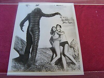 "JOHN AGAR SIGNED still photo-1955 Movie,"" REVENGE of the CREATURE ""-BLACK LAGOON"