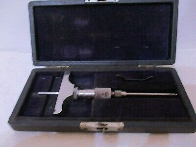 Vintage Brown And Sharpe Small Depth Micrometer Wcase Machinist Tool