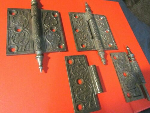 "3 ANTIQUE VICTORIAN ORNATE METAL HARDWARE DOOR HINGES- 3 1/2"" X 3 1/2""-LOOK !!"