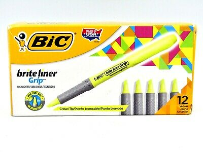 Bic Brite Liner Grip Pocket Highlighter Chisel Tip Fluorescent Yellow 12-pack
