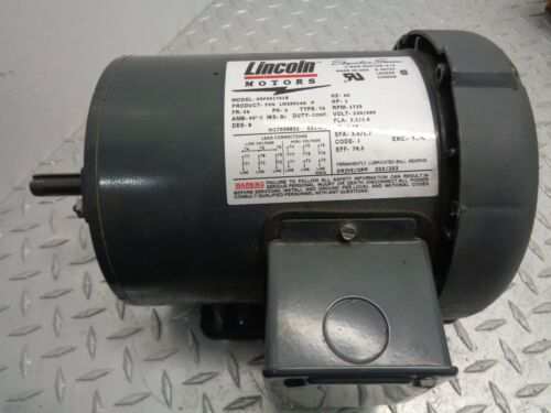 "LINCOLN MOTORS ELECTRIC MOTOR SRF4S1T61B , 1HP, 1/2"" SHAFT, 3PH"