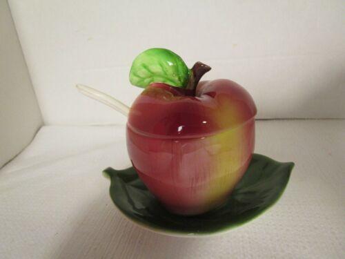 Vintage Apple Jam Jelly Serving Jar / Dish on Leaf with Spoon Porcelain