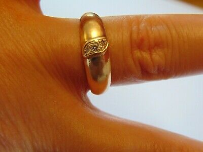 Vintage Solid 14ct Gold Diamond Band Ring   Hallmarked   SIZE P   4.00g   6mm