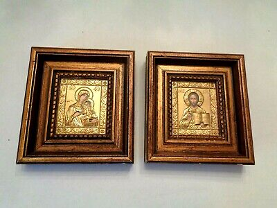 PAIR STRIKING RELIGIOUS ICON PICTURES, JESUS & MARY WITH CHILD. CUT OUT FILIGRE