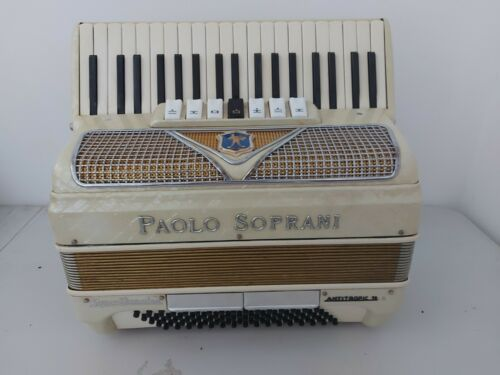 White Paolo Soprani Super Donnina Piano accordion akkordion 80 bass Italy