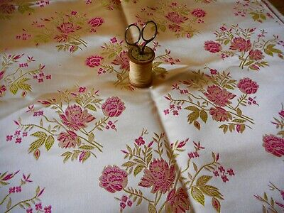 Regal Upholstery Fabric by The Yard Pink Of Beige Ticking Stripe Embroidered Coral