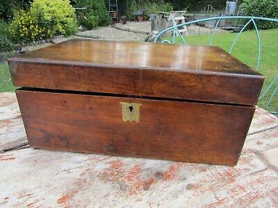 Antique Victorian Era Mahogany Writing Slope Box For Restoration Repair