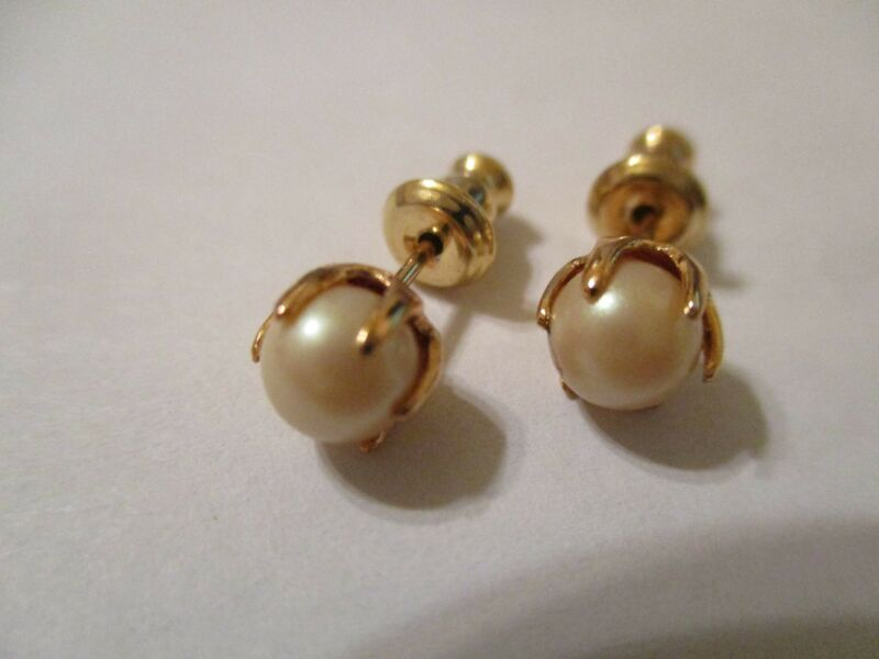 50 Pair Gold Plated Prong Set Pearl  Stud  Earrings 5 mm PE