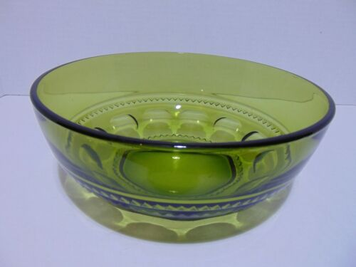 """Indiana Glass Kings Crown Serving Bowl Avocado Green 9 1/2"""""""