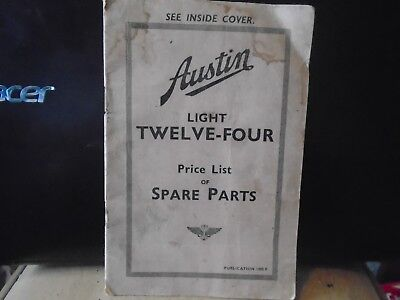 austin light twelve four price list of spare parts