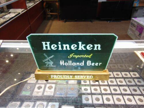 Vintage Light up Heineken Beer Table sign Union made Works !