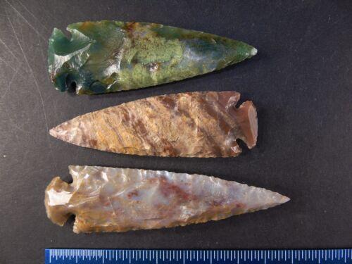 "4"" Stone Spearhead Plains type Flint Chert Knife Blade Arrowhead"