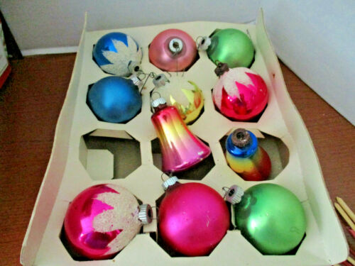 Vintage SHINY BRITE CHRISTMAS ORNAMENTS in BOX~Set of 10