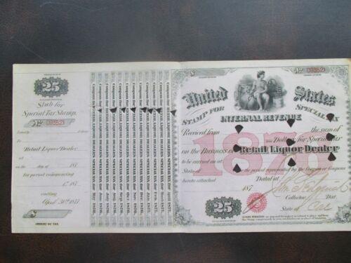 1876 John Sedgwick Signed Stockton,California GRAPHIC Liquor License